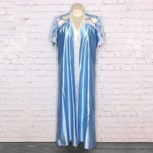 Vintage 1970's Blue Poly Robe with White Lace Trim